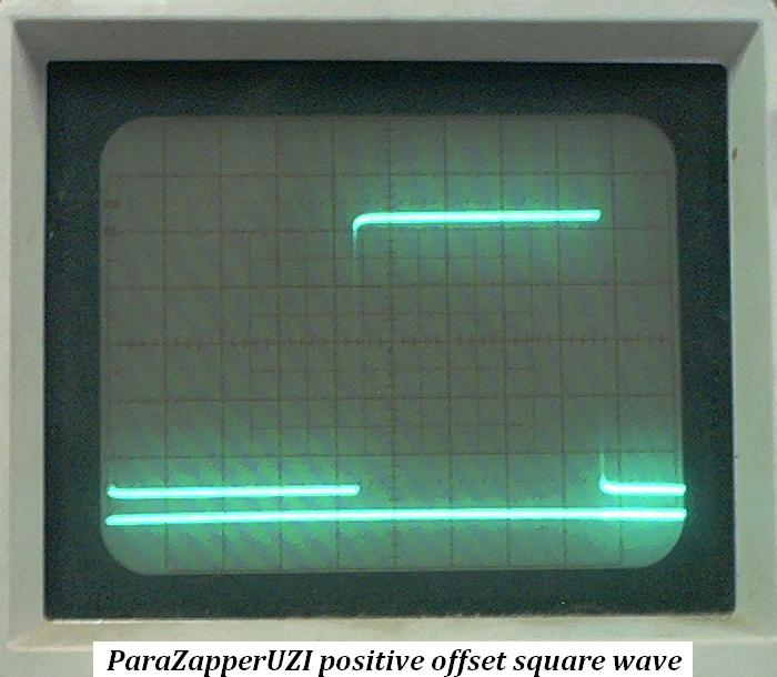 ParaZapper UZI produces 100 percent positive signal and True Square Wave. Click for larger image.
